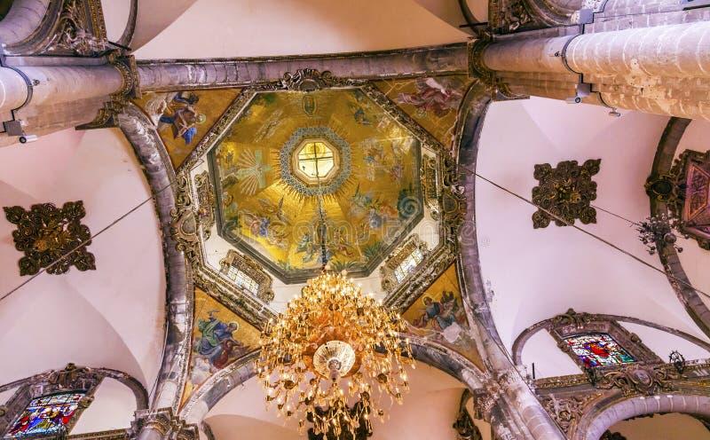 Kopuł mozaik Stara bazylika Guadalupe Meksyk Meksyk zdjęcia royalty free