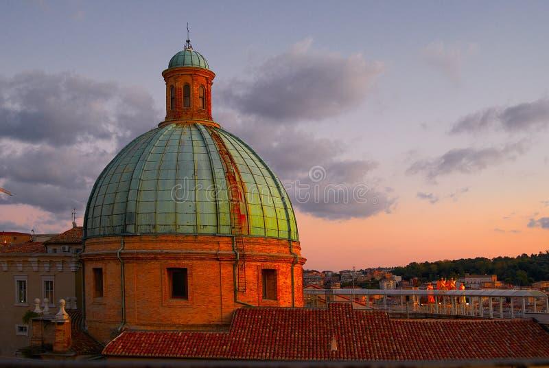 Kopuła Katedralny zmierzch Ancona Włochy zdjęcie stock
