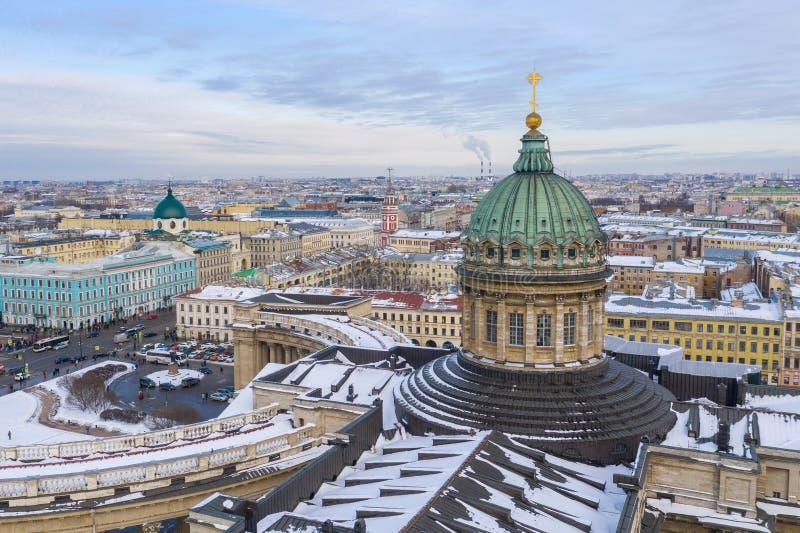 Kopuła Kazan Katedralny widok z lotu ptaka od trutnia, Świątobliwy Petersburg, Rosja fotografia royalty free