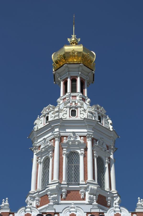 Kopuła kościół rezurekcja przy Smolensk cmentarzem w St Petersburg obraz stock