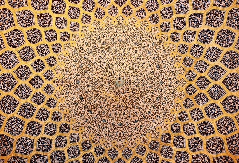 Kopuła meczet, orientalni ornamenty, Isfahan zdjęcia royalty free