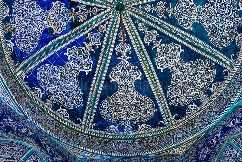 Kopuła meczet, orientalni ornamenty od Bukhara, Uzbekistan fotografia stock