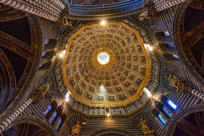 Kopuła Siena Duomo Katedralni di Siena jest średniowiecznym kościół w Siena, Włochy fotografia royalty free