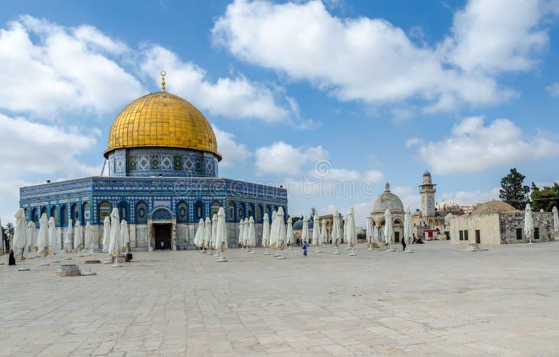 Kopuła skała na Świątynnej górze w starym mieście Jerozolima, Izrael obraz royalty free