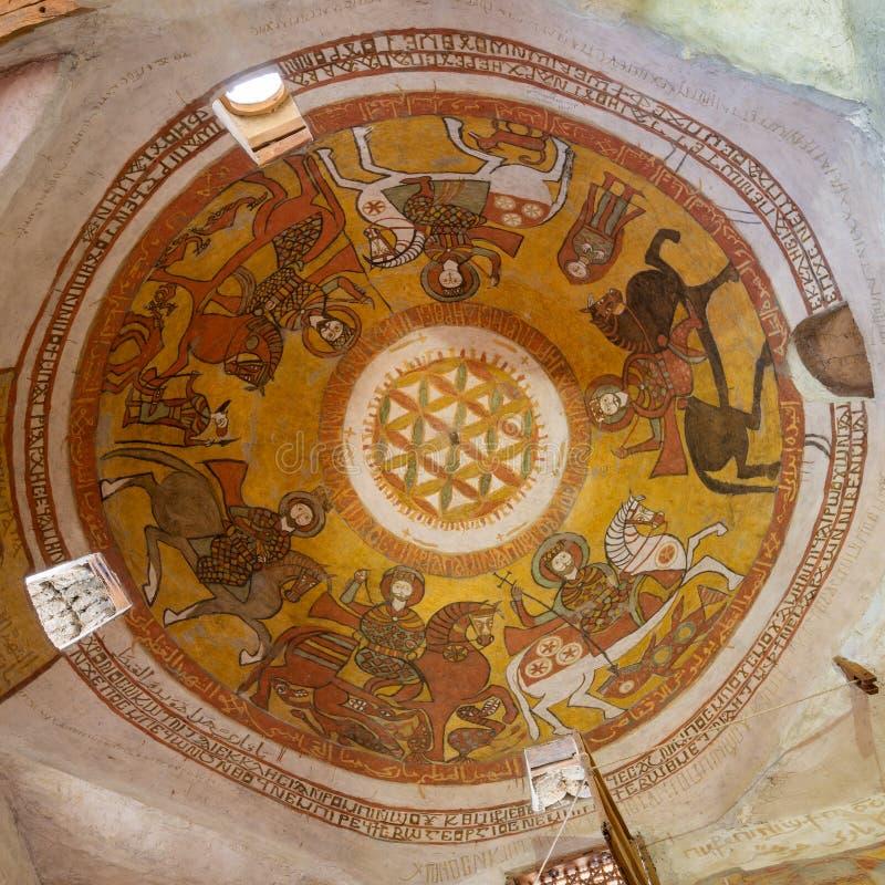 Kopuła z Koptyjskimi fresk obrazami wliczając kwiatu życie przy kościół St Paul & St Mercurius, Egipt obrazy royalty free