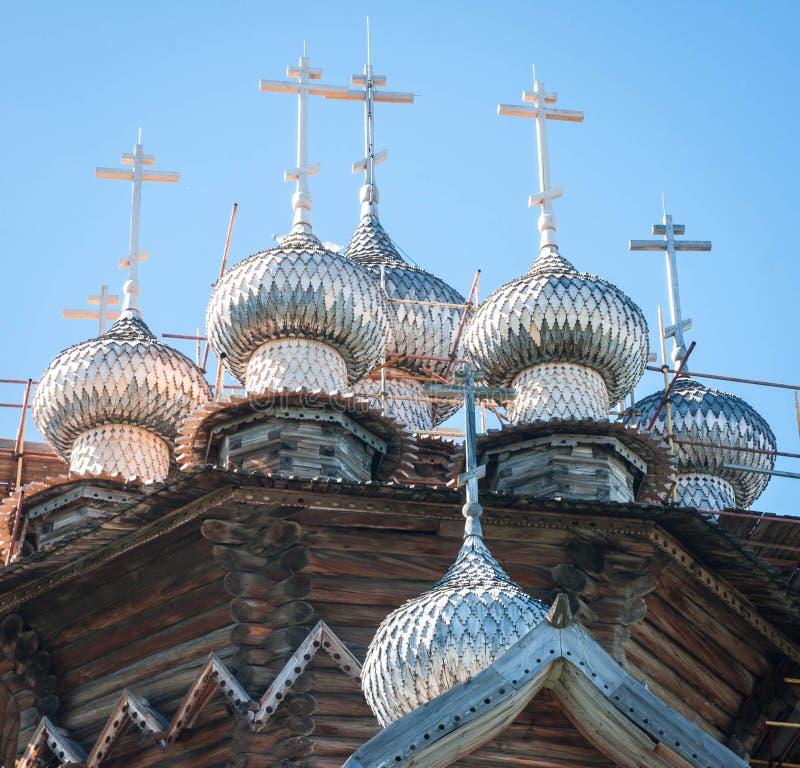 Kopuły drewniany kościół w Kizhi zdjęcie stock