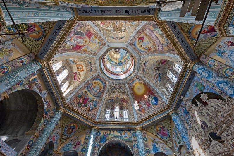 Kopuły wnętrze katedra dedykował wybawiciele transfigurację w Pochayiv Lavra, Ukraina obrazy stock