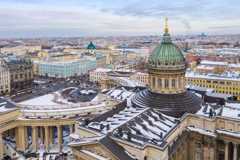 Kopu?a Kazan Katedralny widok z lotu ptaka od trutnia, ?wi?tobliwy Petersburg, Rosja obraz royalty free