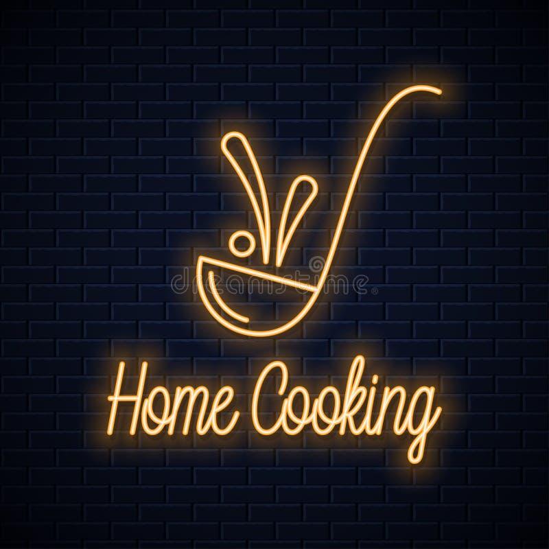 Kopyść neonowy znak Domowego kucharstwa neonowy sztandar royalty ilustracja