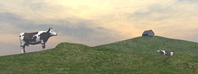 Kor i berg - 3D framför stock illustrationer