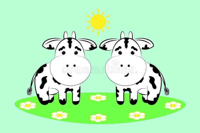 Kor i en blommaäng royaltyfri illustrationer