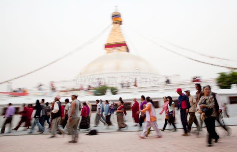 Kora around Boudhanath - peoples in motion royalty free stock images