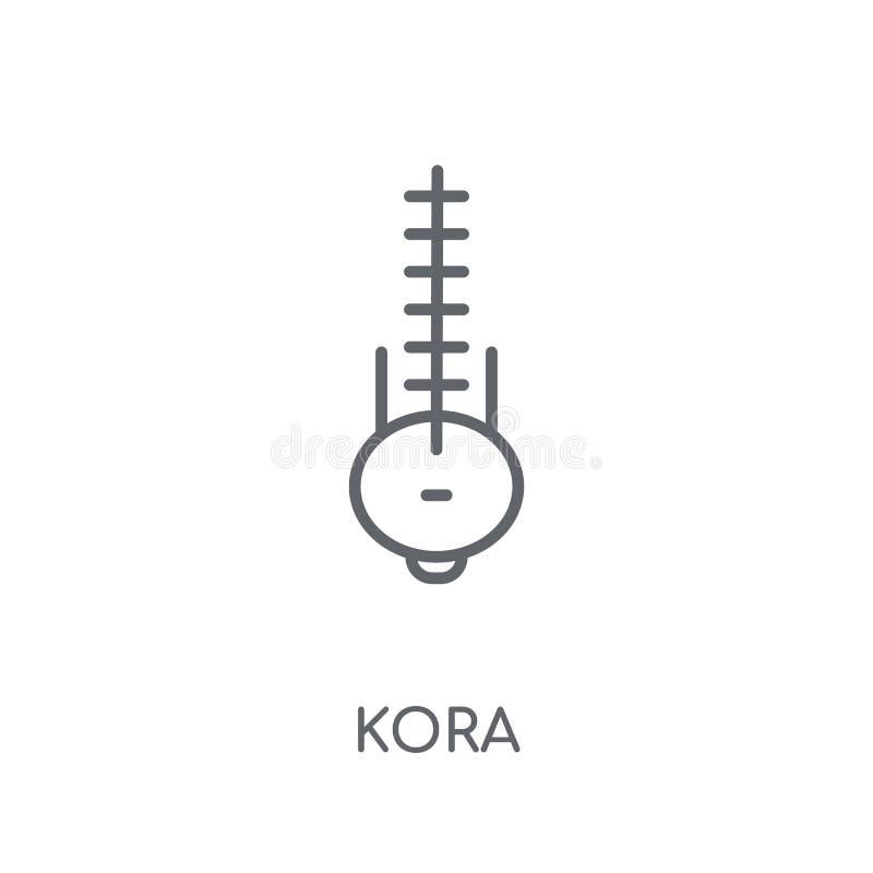 Kora linjär symbol Modernt begrepp för översiktsKora logo på vit baksida royaltyfri illustrationer