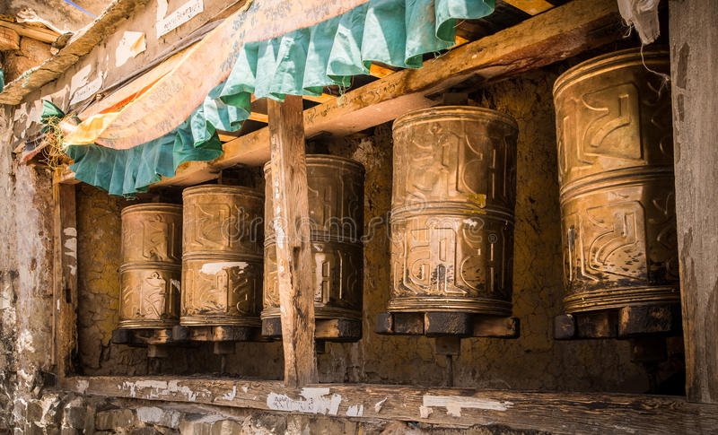 Kora Prayer wheels stock photo