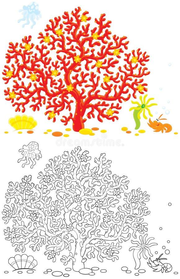Koraal, kwallen, rivierkreeften en shell royalty-vrije illustratie