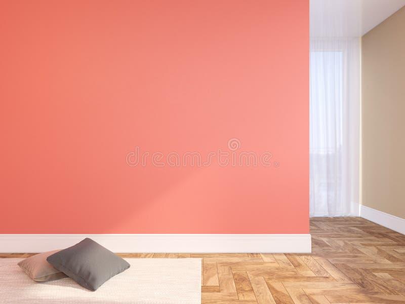 Koraal, roze blinde muur leeg binnenland met hoofdkussens, tapijt, gordijn en visgraat houten vloer royalty-vrije stock foto's