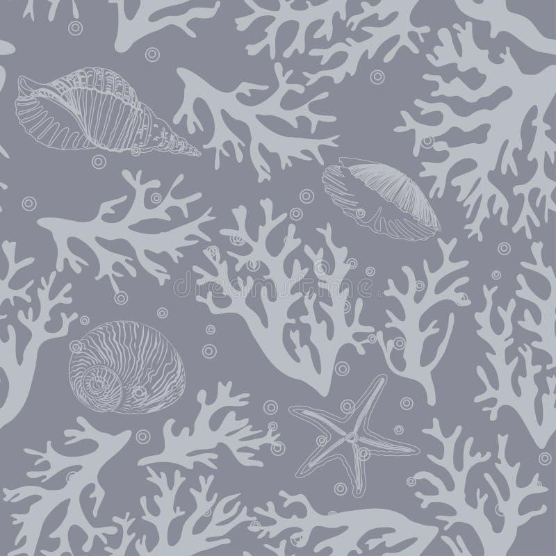 Koraal, zeeschelpen naadloos patroon in uitstekende stijl Vector illustratie vector illustratie