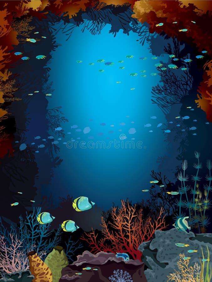 Koraalrif en school van vissen. royalty-vrije illustratie