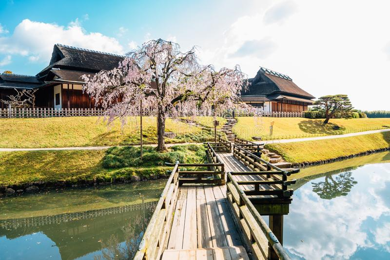 Korakuen garden at spring in Okayama, Japan. Japanese traditional architecture royalty free stock photos