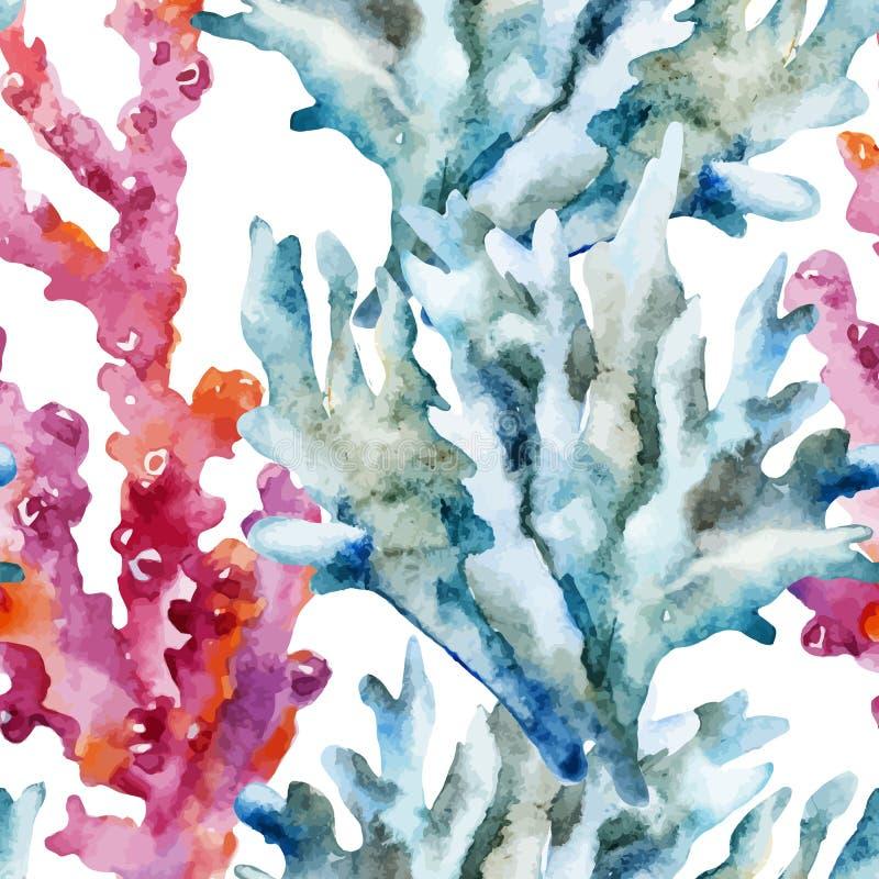 Korale z skorupami i krabami ilustracji