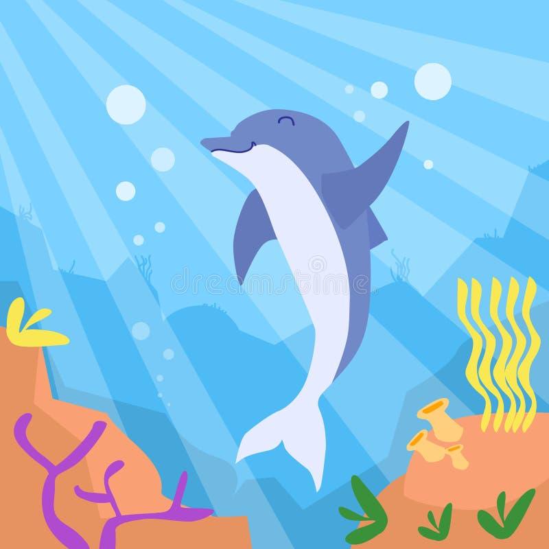 Korall för botten för djupt hav för tecknad filmdelfin undervattens- vektor illustrationer