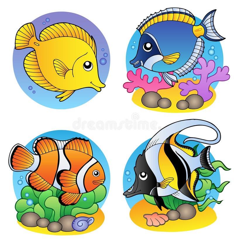 korall fiskar olikt stock illustrationer