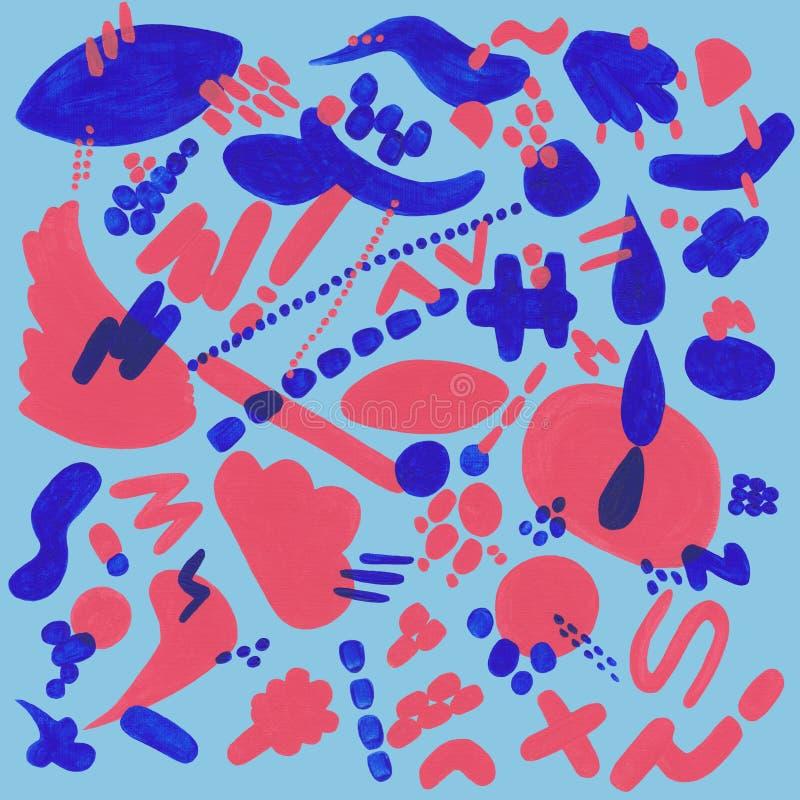 Korall och blå modell med abstrakta beståndsdelar stock illustrationer