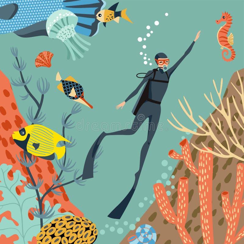 koralldykare undersöker revscubaen bubblor kopierar vektorn för text för avstånd för seaweeds för havet för fiskillustrationlivst stock illustrationer