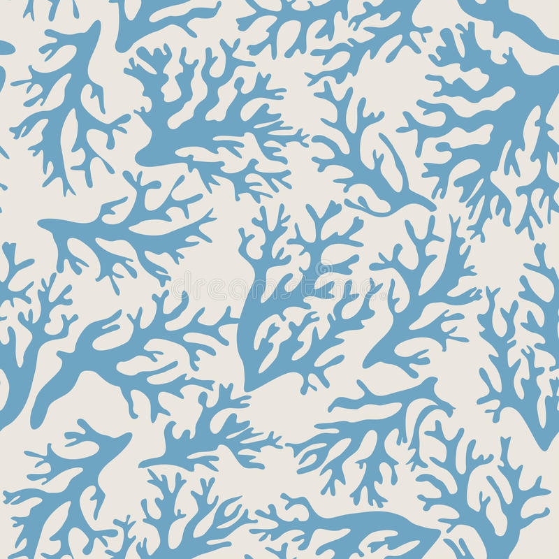 Koralle, nahtloses Muster der Muscheln in der Weinleseart Auch im corel abgehobenen Betrag vektor abbildung