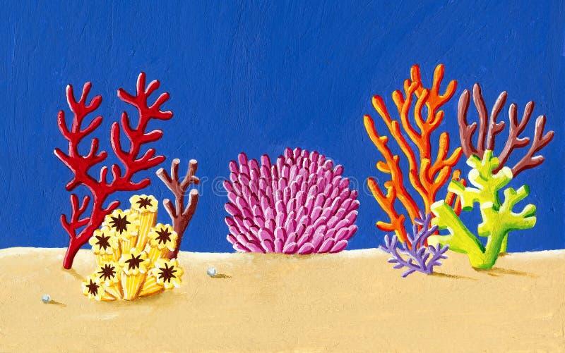 Korallenriff unter der Seeillustration vektor abbildung