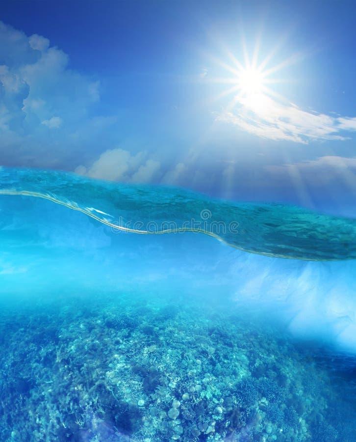 Korallenriff unter tiefem blauen der Meerwasser und Sonne, die über Himmel scheint stockfotografie