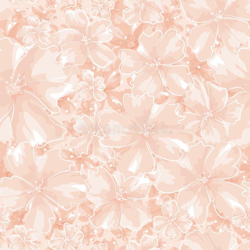 Korallenrote farbige Blumen der abstrakten unterschiedlichen Größe lizenzfreie abbildung