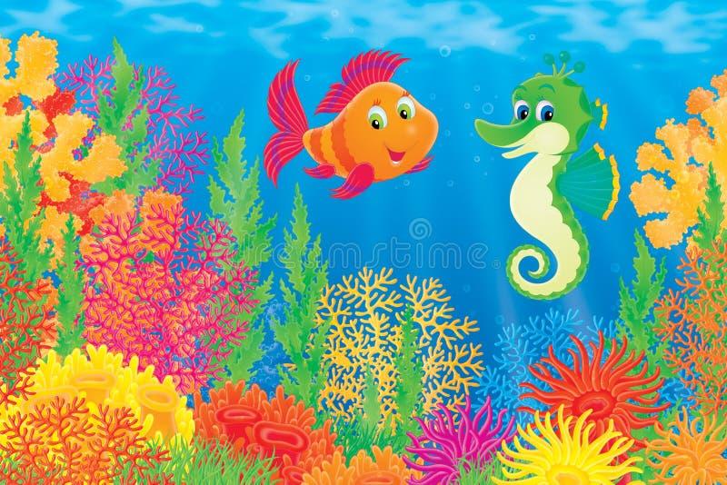 Korallenrote Fische und Seahorse lizenzfreie abbildung