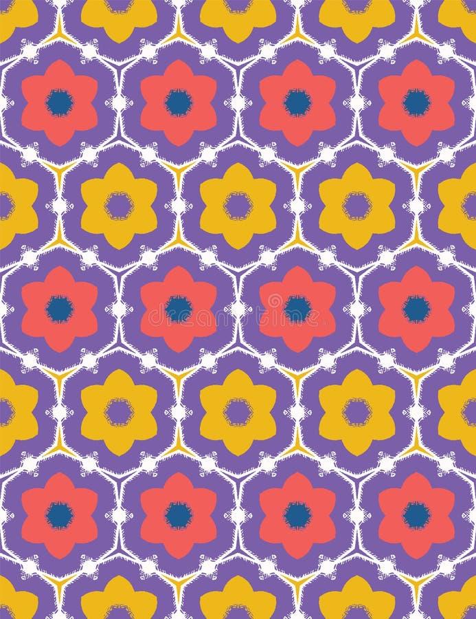 Korallenrote rote gelbe Gänseblümchenblumenformen Nahtloser Damasthintergrund des Vektormusters Handgezogene geometrische mit Blu stock abbildung