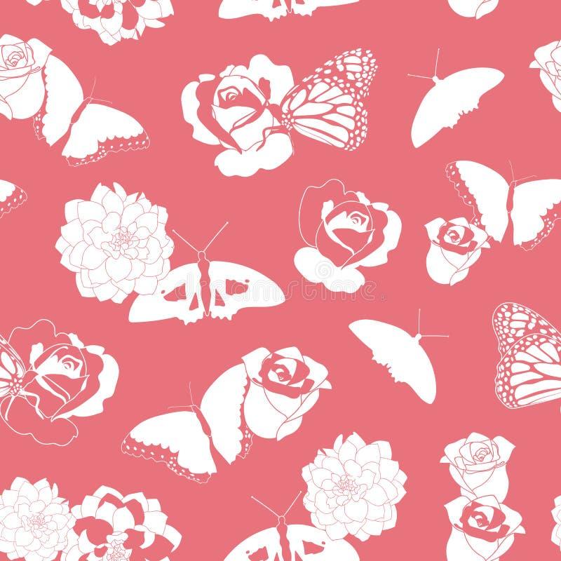 Korallenrote und weiße Schmetterlinge und Blumen stock abbildung