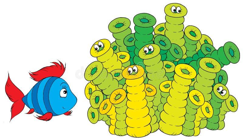 koraller fiskar randigt stock illustrationer