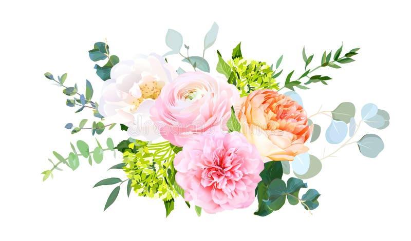 Koralljulietträdgården steg, den rosa ranunculusen, pionen, den gröna vanliga hortensian, eukalyptus royaltyfri illustrationer