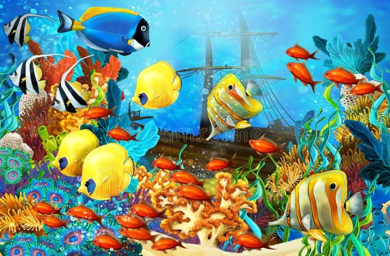Korallreven - illustration för barnen stock illustrationer