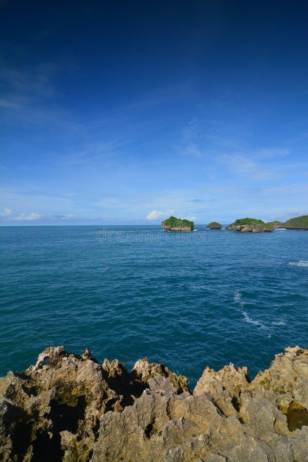 Korallstrand och hav royaltyfria foton