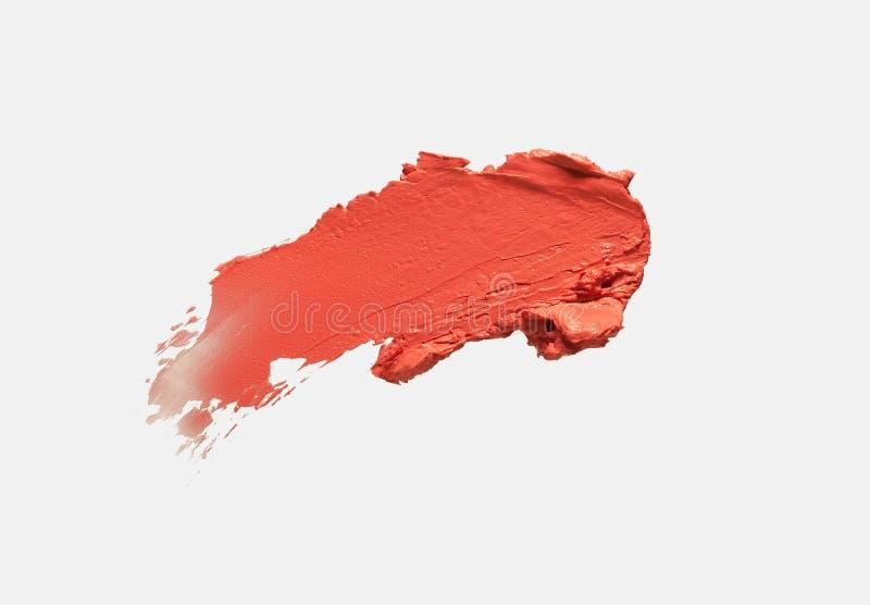 Koralowe czerwone pomarańczowe pomadki tła tekstury smudge próbki zdjęcia royalty free