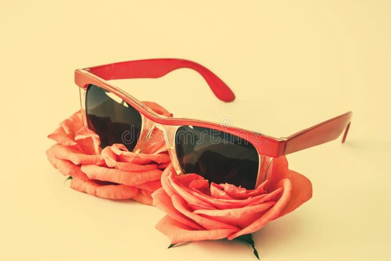 Koralowi barwioni okulary przeciwsłoneczni i kwiaty zdjęcia stock