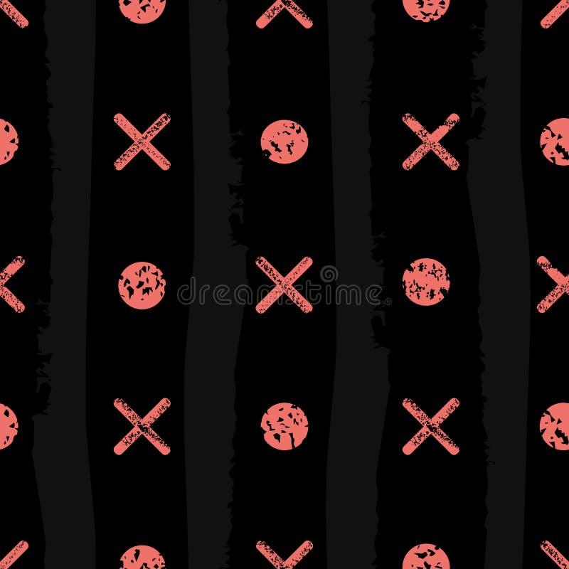 Koralowi noughts i krzyże z zróżnicowaną grunge teksturą Bezszwowy geometryczny wektoru wzór na czarnym tle z subtelnym royalty ilustracja