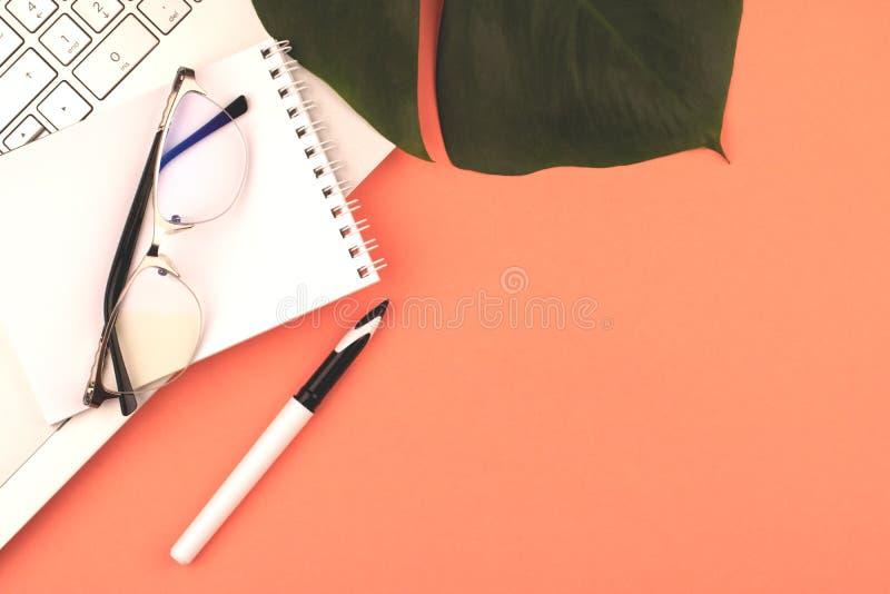 Koralowy copyspace z laptopem, pióro, notatnik, szkła obrazy royalty free