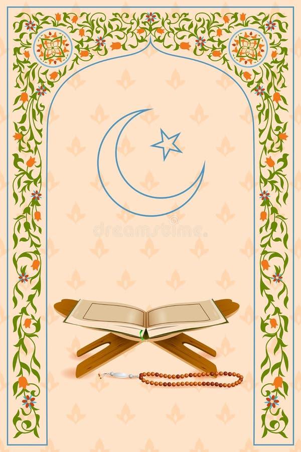 Koranen i Ramadan Kareem (lycklig Ramadan) bakgrund vektor illustrationer