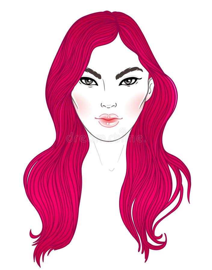 Koranenskönhet Text och teckning av flickan Frisyr färgat blått hår H vektor illustrationer