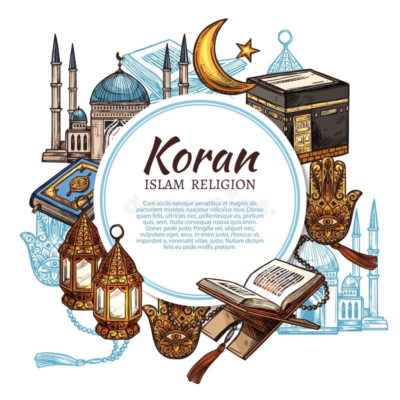 Koraniczna święta księga, islam religii symbole royalty ilustracja