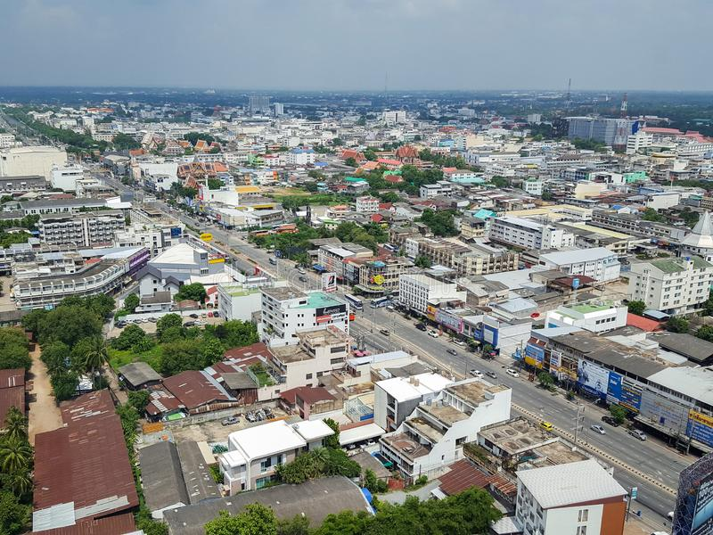 Korat, Nakhon Ratchasima, Tailândia - 23 de julho de 2017: A antena vie imagens de stock royalty free