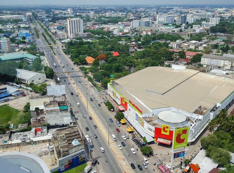 Korat, Nakhon Ratchasima , Thailand - July 23, 2017 : Aerial vie. W of Nakhon Ratchasima or Korat, Thailand. View from Terminal 21`s sky deck royalty free stock image