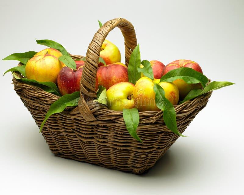 Korb der Pfirsiche lizenzfreie stockfotos