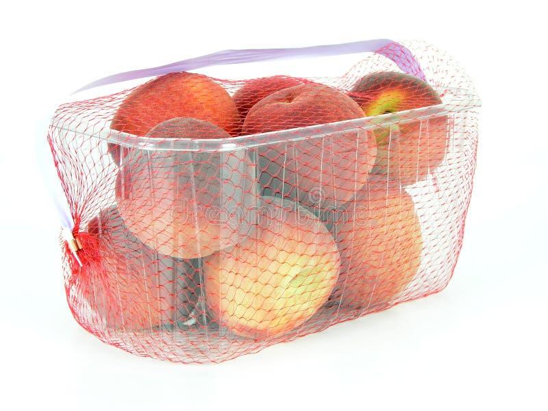 Korb der Pfirsiche stockfoto